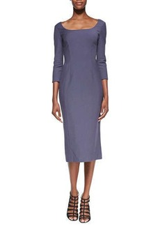 Jason Wu 3/4-Sleeve Wool-Blend Crepe Dress, Amethyst