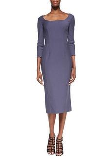Jason Wu 3/4-Sleeve Wool-Blend Crepe Dress, Amethyst