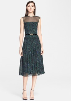 Jason Wu Abstract Print Pintuck Pleated Georgette Dress with Belt