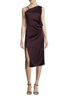 Jason Wu Asymmetric Draped Combo Midi Dress, Eggplant