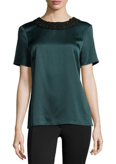 Jason Wu Beaded-Neck Short-Sleeve Satin Tee