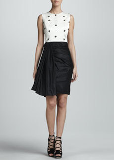 Jason Wu Beaded Sleeveless Combo Dress, Ivory/Black