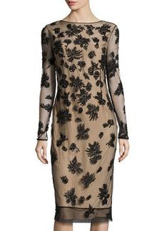 Jason Wu Beaded Tulle V-Back Dress, Black