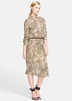 Jason Wu Belted Print Silk Chiffon Shirtdress