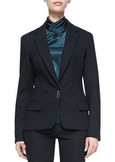 Jason Wu Bi-Stretch Wool Lapel Jacket, Black