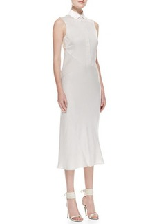 Jason Wu Bias-Cut Silk-Panel Shirtdress