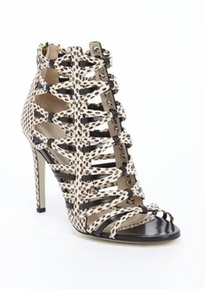 Jason Wu black and ivory leather pattern detail sandals