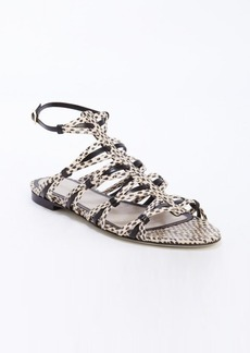Jason Wu black and white spotted snake embossed leather strappy sandals