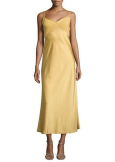 Jason Wu Cascade-Back Charmeuse Slip Dress, Gold