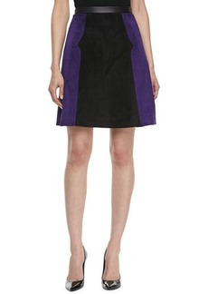 Jason Wu Colorblock Suede A-line Skirt