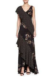 Jason Wu Combo Silk Bias Cascade Gown, Multicolor