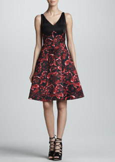 Jason Wu Combo Silk Satin Dress, Black/Ruby