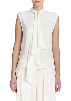 Jason Wu Crepe Cady Tie-Neck Blouse