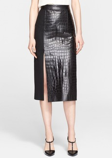 Jason Wu Crocodile Embossed Leather & Wool Midi Skirt