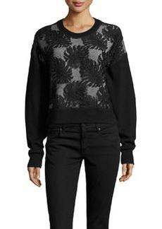 Jason Wu Cropped Lace Combo Sweatshirt