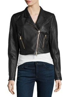 Jason Wu Cropped Leather Moto Jacket, Black