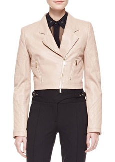 Jason Wu Cropped Leather Motorcycle Jacket, Nude