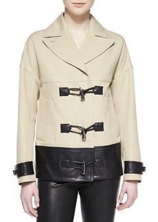 Jason Wu Cropped Toggle-Front Leather-Trim Coat