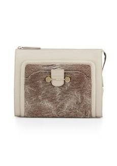 Jason Wu Daphne Astrakhan-Trim Leather Clutch Bag, Powder Gray