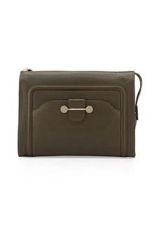 JASON WU Daphne Leather Clutch Bag, Dark Olive