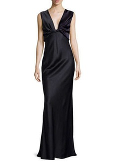 Jason Wu Deep V-Neck Fitted Satin Gown
