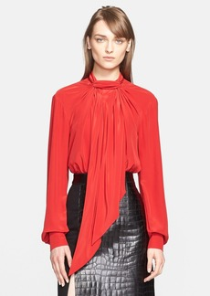 Jason Wu Draped Neck Tie Silk Blouse