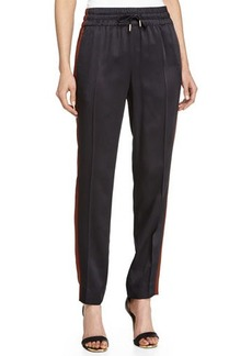 Jason Wu Drawstring Slim Jogging Pants, Black/Mahogany