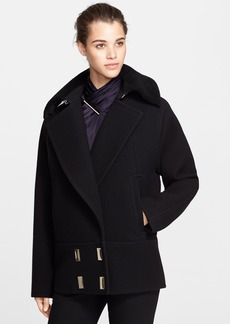 Jason Wu Felted Wool Blend Coat with Genuine Shearling Collar