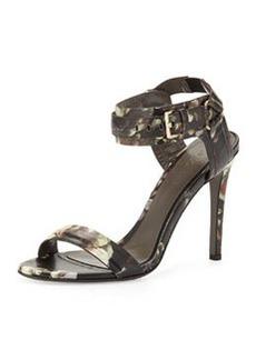 Jason Wu Floral-Print Leather Ankle-Wrap Sandal