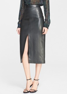 Jason Wu Front Slit Lambskin Leather Skirt