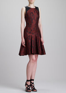 JASON WU Graphic Jacquard & Leather Flounce Dress, Red/Black