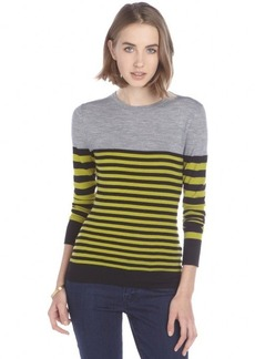 Jason Wu green and black striped wool crewneck sweater