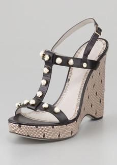 Jason Wu Jeweled T-Strap Wedge Sandal