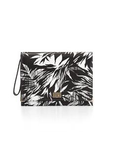 Jason Wu Jourdan 2 Tropical-Print Leather Clutch Bag, Black/Ivory