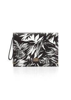 Jason Wu Jourdan 2 Tropical-Print Leather Clutch Bag, Black/Ivory