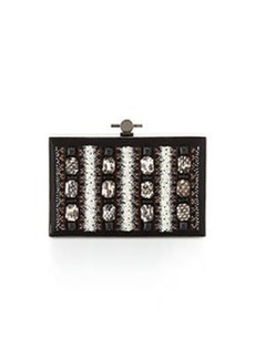JASON WU Karlie Watersnake Beaded Satin Box Clutch Bag