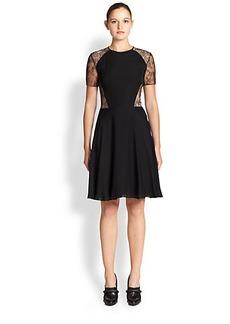 Jason Wu Lace-Insert Silk Georgette Dress