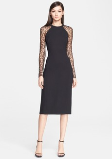 Jason Wu Lace Long Sleeve Crepe Dress
