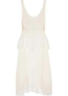 Jason Wu Lace-paneled silk crepe de chine dress