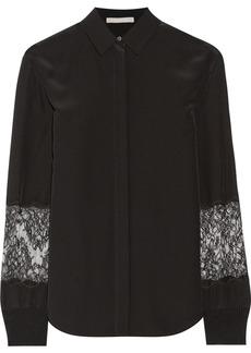 Jason Wu Lace-paneled silk shirt