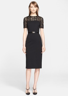 Jason Wu Lace Yoke Ponte Knit Sheath Dress
