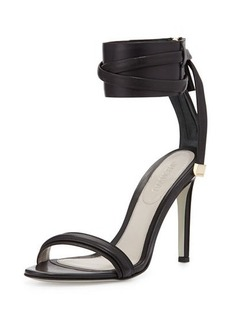 Jason Wu Leather Ankle-Strap Sandal, Black