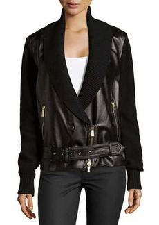 Jason Wu Leather Combo Moto Jacket