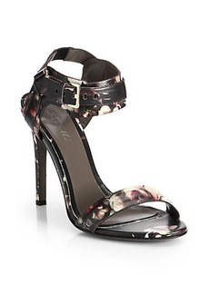 Jason Wu Leather Floral Print Buckle Sandals