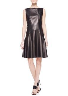 Jason Wu Leather Flounce Dress with Corset, Black
