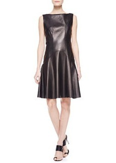 Jason Wu Leather Flounce Dress with Corset, Black