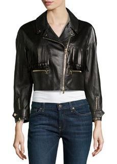Jason Wu Leather Fringed Motorcycle Jacket, Black