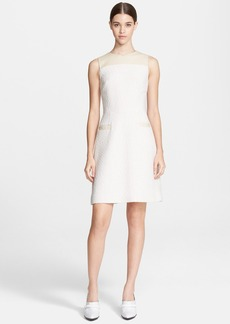 Jason Wu Leather Trim Bouclé Knit A-Line Dress