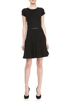 Jason Wu Leather-Trim Ponte Flounce Skirt