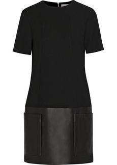 Jason Wu Leather-trimmed wool-blend dress